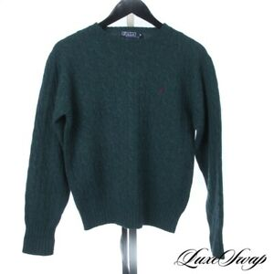 Vintage Polo Ralph Lauren Teal Spruce Green Cableknit Crewneck Wool Sweater 80