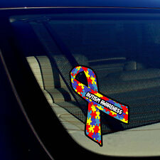 "Autism Awareness Puzzle Ribbon Auto Window Bumper Sticker Decal 5"" Inches Long"