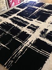 Modern Spectacular Black/ White area Rug 6' X9'Hand knotted Abstract Silk & Wool