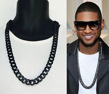 Mens Iced Out Hip Hop 15mm Black Finish Rappers Miami Cuban Link Chain Necklace