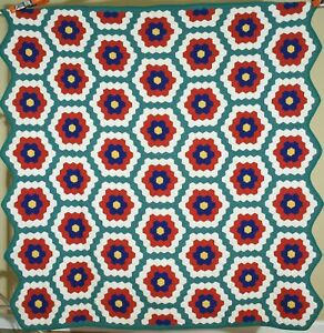 VIBRANT Vintage 30's Grandmother's Flower Garden Antique Quilt ~Great Colors!