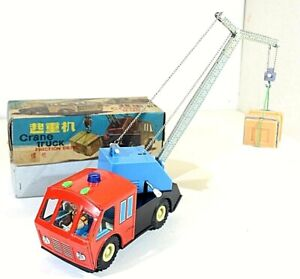 "RED CHINA MF990 ""CRANE TRUCK"" WIND UP VTG,TIN,NEW OLD STOCK,MS,ME,STF,SHANGHAI"