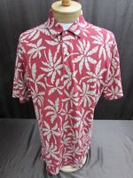 Tommy Hilfiger men's sz L floral Hawaiian shirt short sleeve Polo SS red white