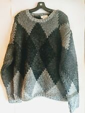 J Crew 100% Wool Pullover Long Sweater Black Grey Small Mens