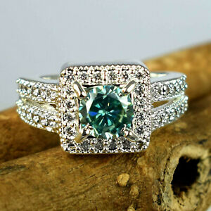 Unique Design Green Diamond Solitaire Halo Ring 2.82 Ct Certified-Lovely Gift