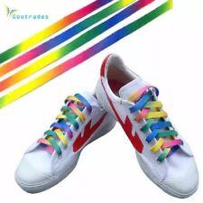 Pair Rainbow Multi Coloured Flat Shoelaces Boot Laces Trainers 112cm X 0.80cm