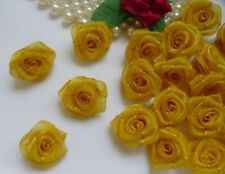 "1 "" Golden Yellow Organza Ribbon Roses Flowers Appliques-Lots 50 Pcs (R0082Y)"