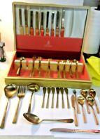 Vintage DIRILYTE EMPRESS GOLD Mid Century Flatware Set in chest 51 pieces
