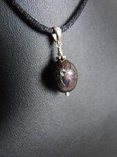 925 sterling silver carved freshwater PEARL black FLOWER pendant