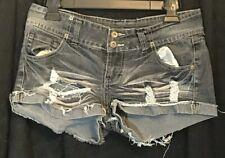Super Shorty Shorts Size 7 Denim Shorts Low Rise Frayed Hem Blue Asphalt Womens