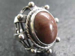 ORNO Polen Großer schöner Ring 800 Silber mit braunem Stein