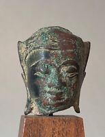 Tête de Bouddha en bronze Thaïlande 17 éme siècle Art D'Asie du Sud Est