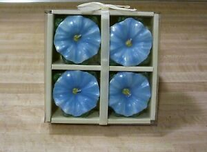 """CANDLES 4  PACK FLOWER - BLUE - 2 1/4"""" DIA. EA. - DECOR WEDDING EVENTS HOME"""