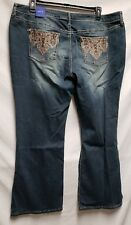 NWT Apt 9 WOMAN JEANS Size 20WS Blue Denim BOOTCUT Mid Rise Embellished NEW $64