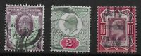 KEVII-1&1/2d.,2d.,10d. (SG224,225,311 Respectively)-Good/Fine Used.  Ref.0852