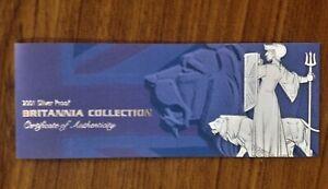 2001 Fine Silver Proof Britannia 4 Coin Collector Set Box COA