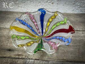 Antique Murano Latticinio Zanfirico Ruffle Rimmed Pedestal Bowl Multicoloured