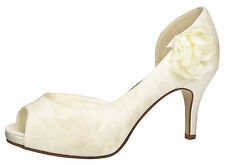 Brautschuhe Hochzeitsschuhe Fiarucci Gala Peep Toe Satim mit Spitzenbezug ivory