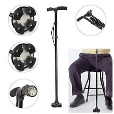 Aluminium Foldable Walking Stick Cane LED Light Pivoting Stands Base 250lbs
