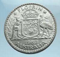 1962 AUSTRALIA - UK Queen Elizabeth II SILVER FLORIN Coat-of-Arms Coin i77707