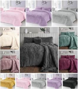 Luxury Cuddles Alaska Teddy Bear Fleece Duvet Cover Warm Long Fur Bedding Set