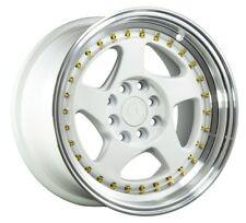 Aodhan Ah01 15X8 4X100/114.3 +20 White Rims Fits Rx7 Mustang Accord Ae86 Stance