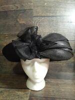Deborah Fashions Black Crinoline &  Embellished Halo Church Derby Wedding Hat