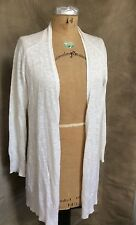 EILEEN FISHER White LINEN Cotton NUBBY TEXTURED Open CARDIGAN Sweater S Small