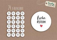 """24 x Geschenkaufkleber """"Frohe Ostern"""" 40mm weiß Etiketten Aufkleber Sticker"""