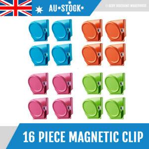 16 Magnetic Clips Fridge Strong Magnet Metal Clamp Note Photo Hanger Holder Hook
