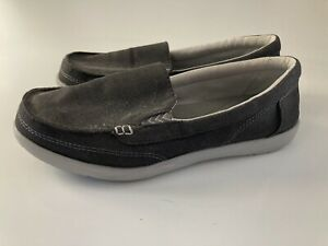Women's Gray Triple Comfort Crocs Slip On Shoes Size 7 Walu Canvas Loafer