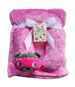 Puppy Blanket With U Pillow Pink Bear Design
