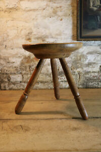 Welsh 19th Sycamore & Ash Cheese Top Milking Stool Antique Folk Art