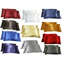 1PC Silk Satin Pillow Cases Cover Soft Queen Bed Cushion Cover Pillowcase Summer