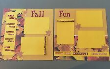 Fall Fun 12x12 Scrapbook Pre-made Handmade Pages - Set of 2