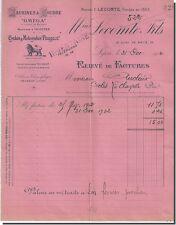 Facture - Lecomte & Fils Machine à coudre Cycles Motocycles Peugeot à Lyon 1902