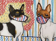TOY FOX TERRIER Quarantine Art Print 13x19 Collectible Vintage Style Dogs