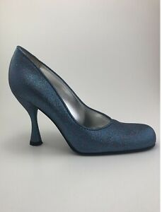 D&G (Dolce & Gabbana) Women Vintage Heels Glitter Multi Blue Pumps Size 36.5