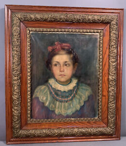 Vintage YOUNG Girl LADY PORTRAIT Oil PAINTING Old VICTORIAN Gesso & Oak FRAME
