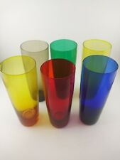 Vintage Mid-Century Drinking Glasses Mixed Colors Set of Six Mcm
