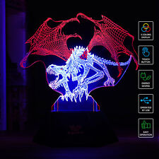 SAVFY New 3D Night Light LED Desk Bedroom Illusion Xmas Decor Dinosaur Lamp