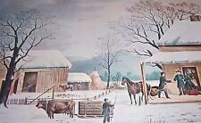 HOME TO THANKSGIVING Nathaniel Currier and James Ives Color Print