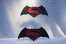 COMBO BATMAN ~ SUPERMAN ~ CUSTOM REFLECTIVE GRILLE/HITCH COVER NEW FREE SHIP!