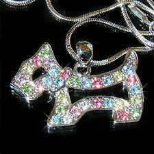 w Swarovski Crystal ~Rainbow Scottie DOG~ WESTIE SCOTTISH Pendant Chain Necklace