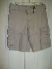 NEW UPROAR BOYS 12 HUSKY CARGO SHORTS KHAKI ADJUSTABLE WAIST BELT PUTTY
