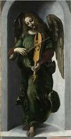 Art Oil painting portraits Leonardo da Vinci angel in green cloth playing violin