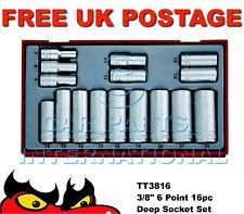 TENG TOOLS 1cm Drive 6 Puntos Profundo Set de vasos Ratchet Llave tt3816