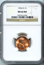 1956-D 1C Lincoln Wheat Cent MS-66 Red NGC 2027612-094 Certified + Bonus