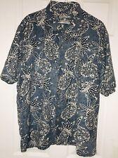 Batik Bay Men's 100% Silk Hawaiian Blue Pineapple Design Dress Shirt Sz 2 XL