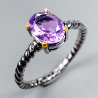 Vintage Natural Amethyst 925 Sterling Silver Ring Size 6.5/R123447